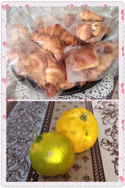 ラッピングクロワッサンと柚子