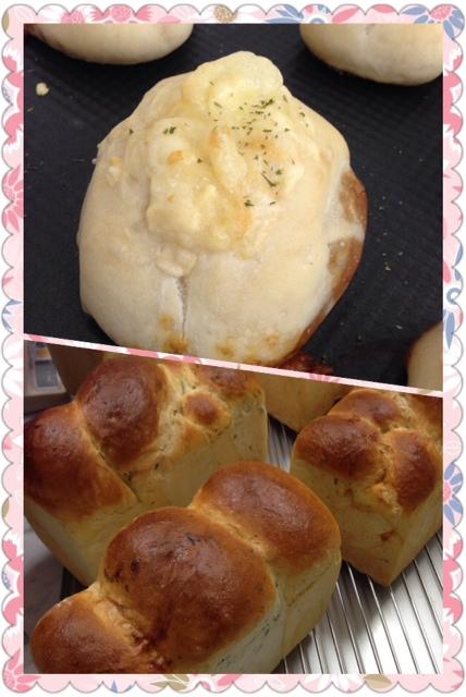 焼きチーズカレーバンと三色食パン