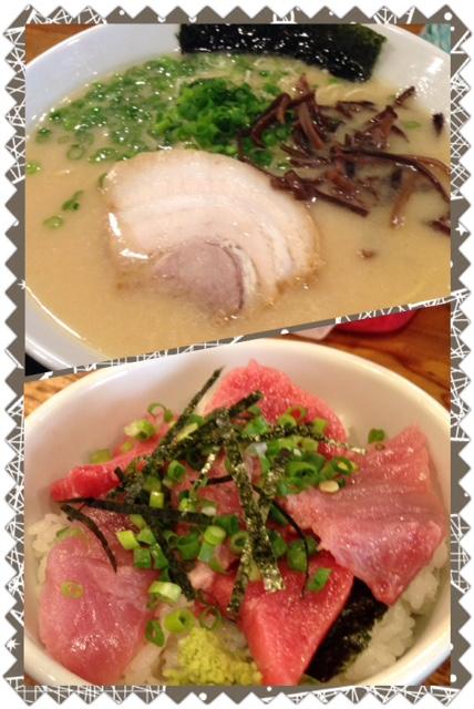 スガイの豚骨ラーメンとマクロ丼